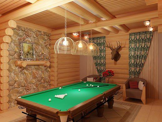Бильярдная комната в подвальном помещении