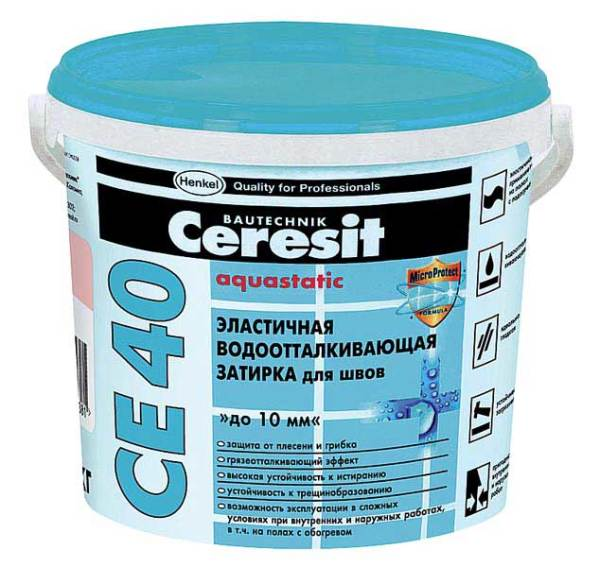 Эластичная водонепроницаемая затирка Ceresit СЕ-40.