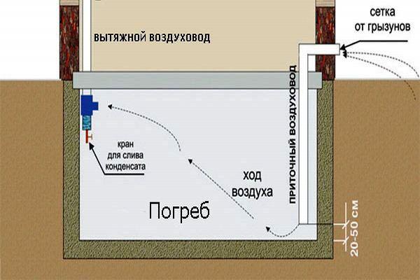 Как видно из чертежа, все достаточно просто: приток располагается у пола, вытяжная магистраль – у потолка