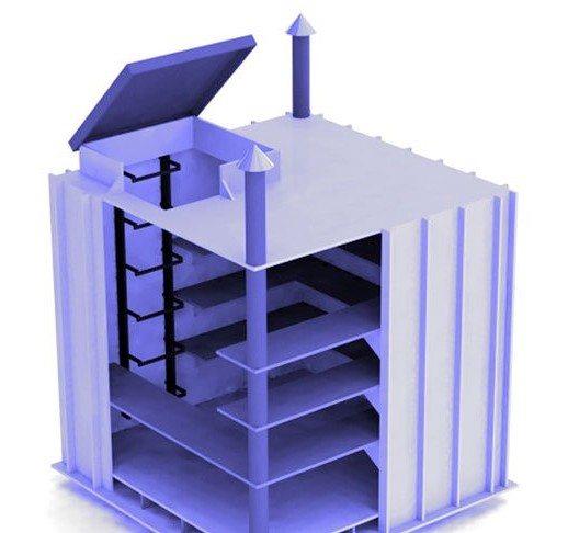 На фото конструкция с ребрами жесткости, оснащенная крышкой, полками, вентиляцией и лестницей.