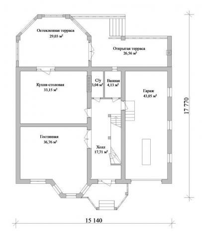 Первый этаж отличается просторнейшей кухней и гостиной, а также наличием двух террас – открытой и закрытой