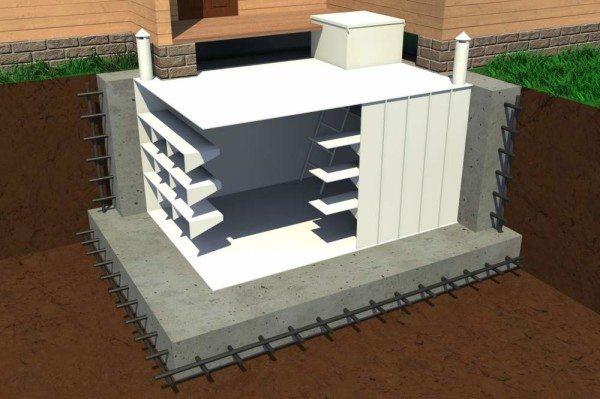 Погреб, защищенный от всплытия бетоном.