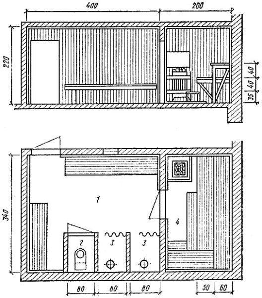 Примерный чертеж сауны