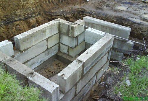 Строительство погреба из бетонных блоков
