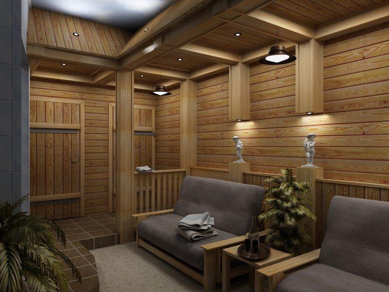 Дизайн комнаты отдыха в сауне фото
