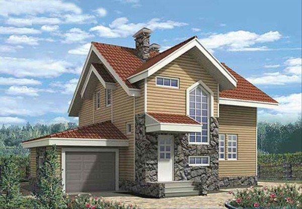 Деревянный дом с гаражом в цоколе
