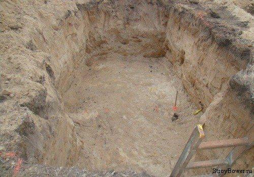 Готовый котлован, который делают при строительстве самого гаража, если в нем планируется создавать погреб