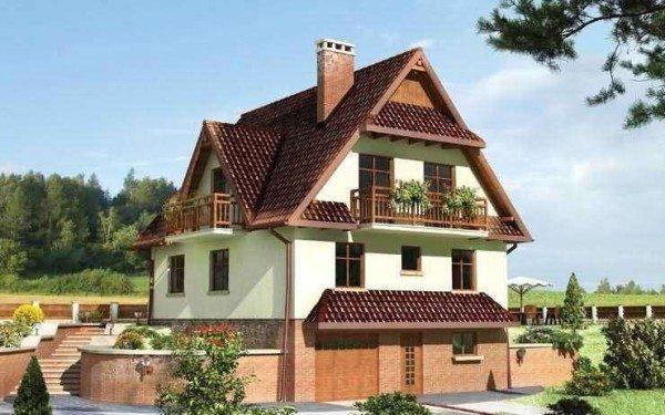 На фото - проект домов с цокольным этажом в виде гаража