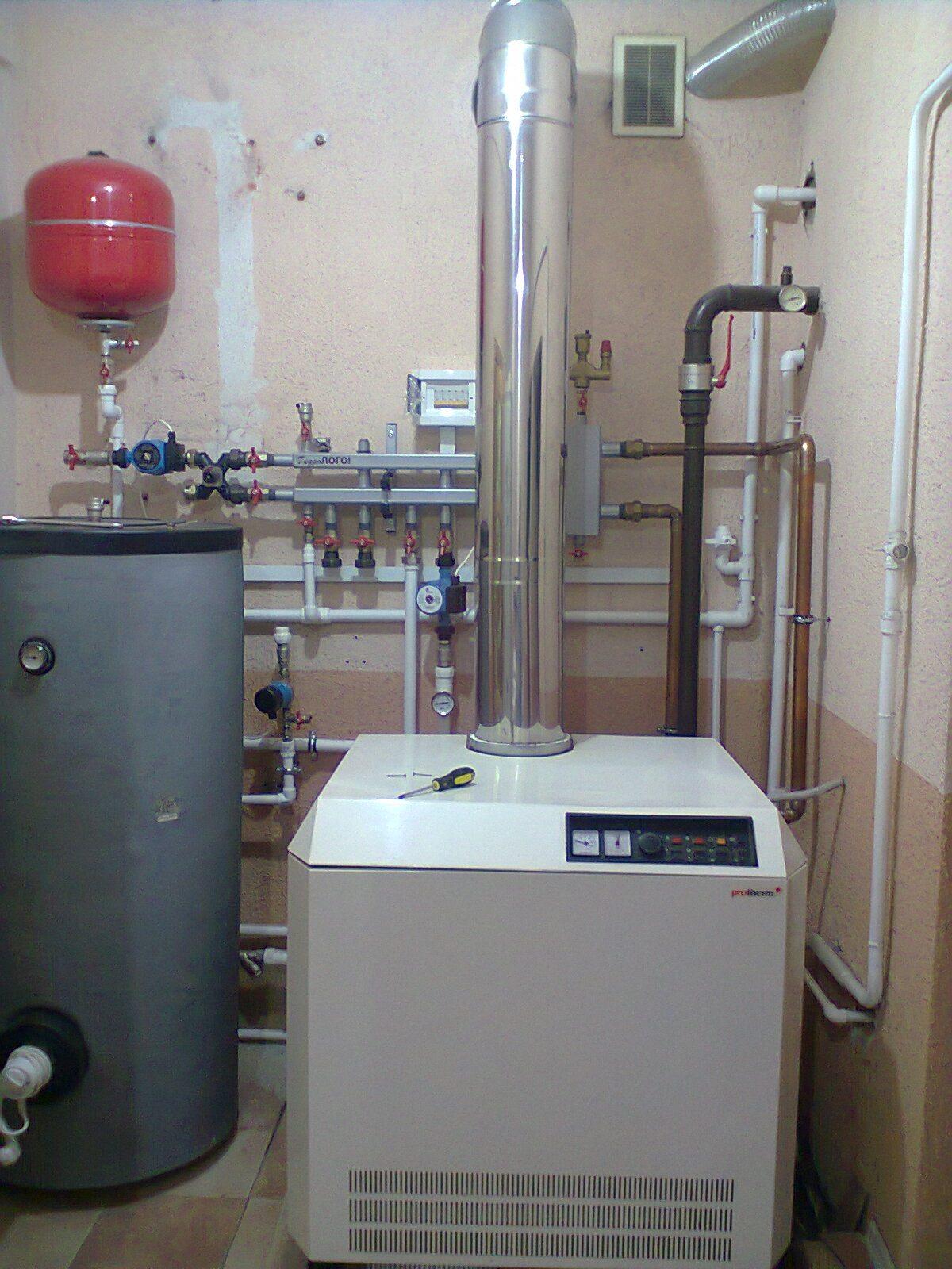 отопление частного дома дымоход схема