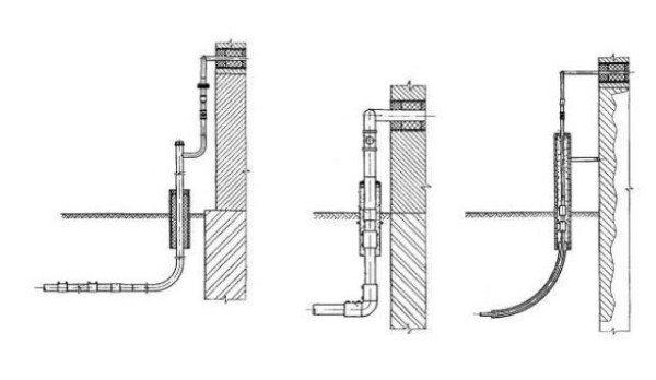 На фото – три варианта цокольного подвода: г-образный, прямой и i-образный