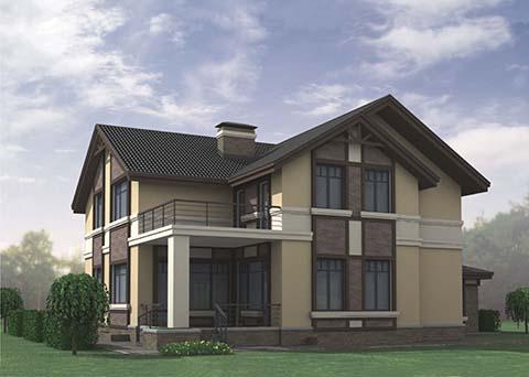 На фото готовый двухэтажный дом с подвалом.