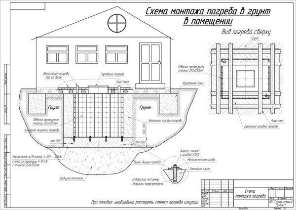 На фото показан чертеж дома с заглубленным погребом.