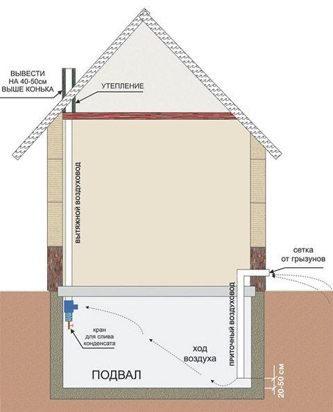 На схеме показана естественная вентиляция в подвале, устроенная по всем правилам