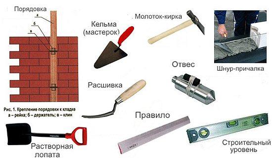 Основной инструмент, необходимый при кладочный работах