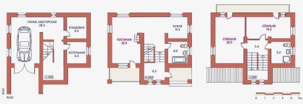 План дома с цокольным этажом