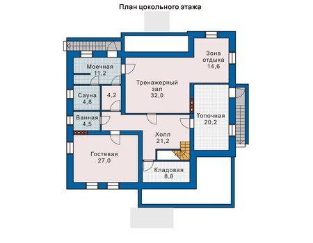 План цокольного этажа с гостевой комнатой, сауной и спортзалом