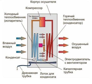 Принцип работы бытового осушителя воздуха.