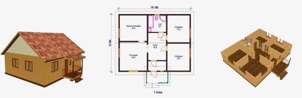 Проект дома 8х10 с подвалом: модель подземной части
