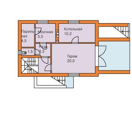 Проект дома с мансардой и цоколем – цокольный этаж
