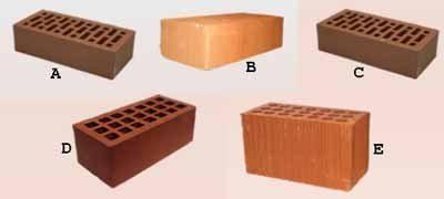 Пять наиболее распространённых видов клинкерного кирпича (см. описание в тексте)