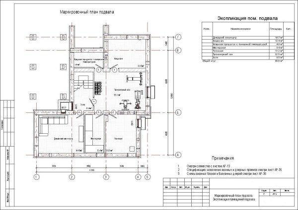 Схематический проект подвала в двухэтажном доме.