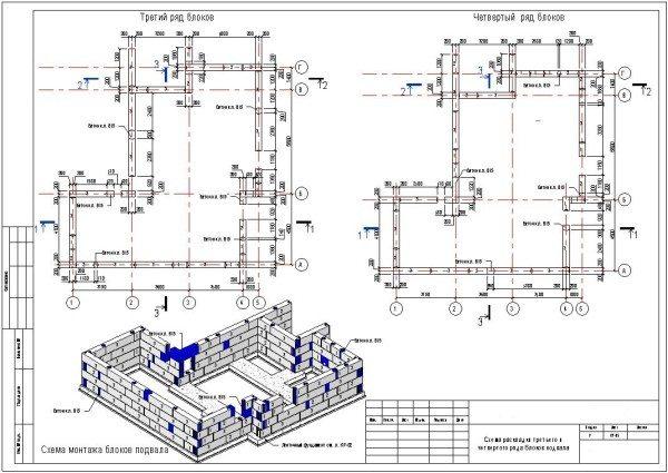Схематическое изображение раскладки ФБС блоков.