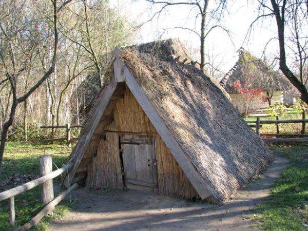 Соломенная двухскатная крыша