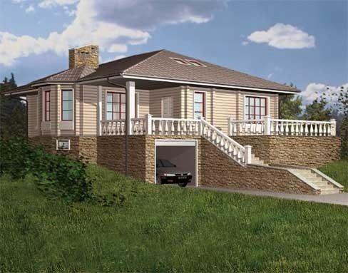 Трехмерная модель одноэтажного дома с цокольным этажом