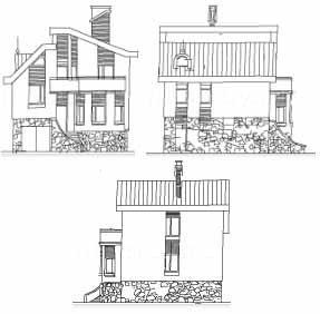 Три вида фасадов пилотного варианта : спереди, справа и слева