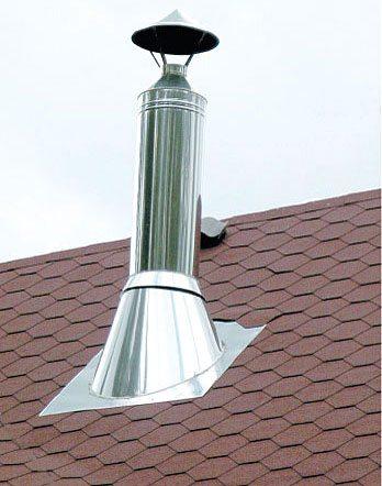 Трубу выводят на крышу как можно выше.
