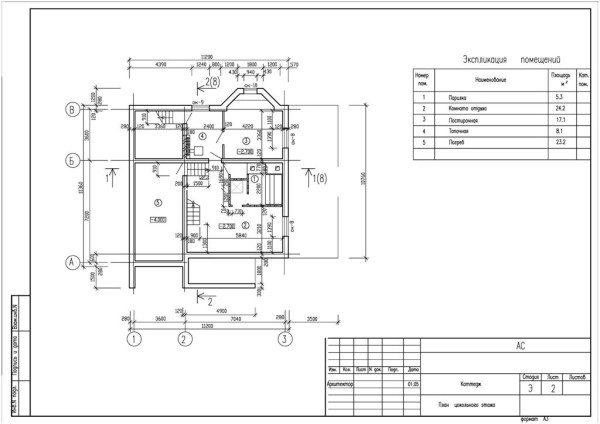 Вариант проекта цокольного этажа