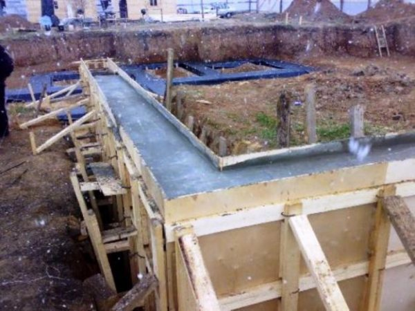 Заливка бетона на фундамент.